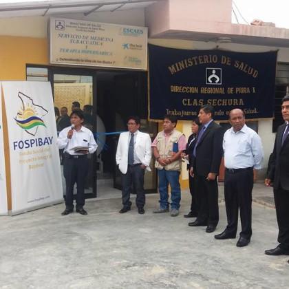 Ceremonia oficial post reparación por FOSPIBAY de Cámara Hiperbárica donada por ONG ESCAES al MINSA – CLAS Sechura (Piura – Perú)